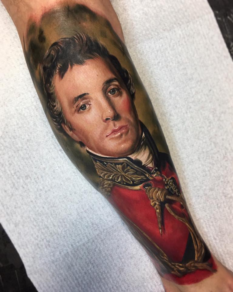 Duke of Wellington Tattoo, Full calf completed over two sessions. By Ben Kaye