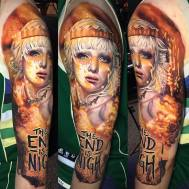 Girl in Flames Tattoo. By Ben Kaye