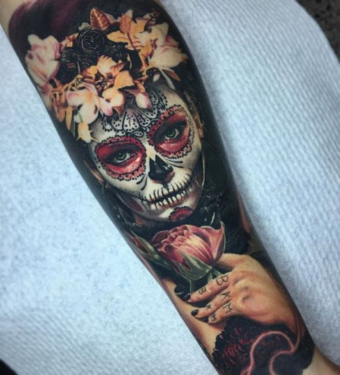 Day of the Dead Piece. Fully Healed. Tattoo by Ben Kaye